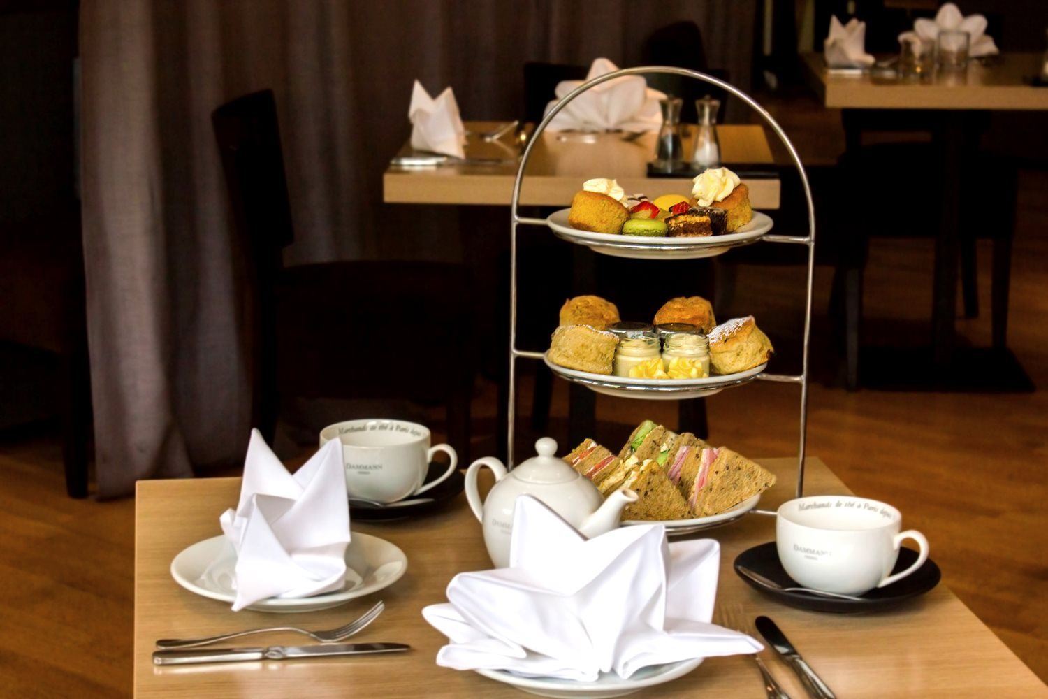 Enjoy a selection of freshly prepared sandwiches, scones and pastries.